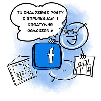 Facebook - posty z refleksjami i kreatywne ogłoszenia